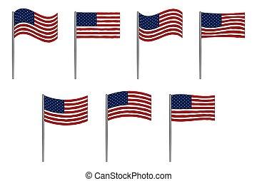 américain, ensemble, drapeau, blanc