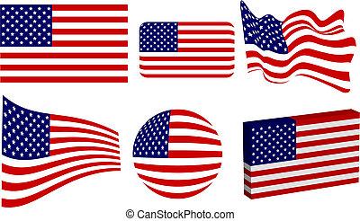 américain, ensemble, drapeau