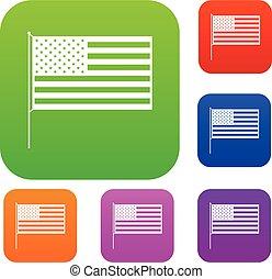 américain, ensemble, drapeau, collection