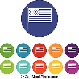 américain, ensemble, drapeau, icônes