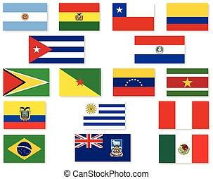 américain, ensemble, drapeau, sud