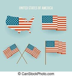 américain, ensemble, map., drapeau, plat