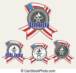 américain, ensemble, silhouette, drapeau, signe