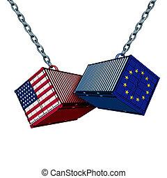 américain, européen, guerre, commercer