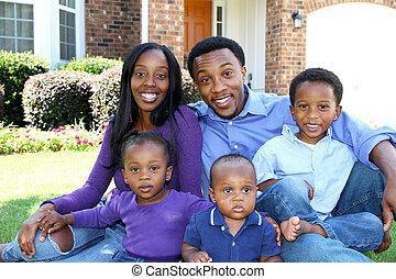 américain, famille, africaine