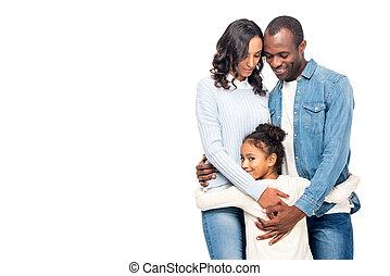 américain, famille heureuse, africaine