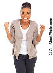 Américain, femme,  Afro, excité