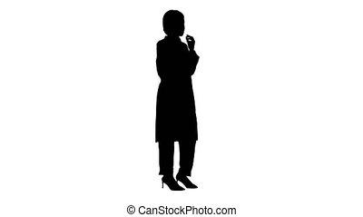 américain, femme, téléphone, conversation, africaine, canal, alpha, docteur