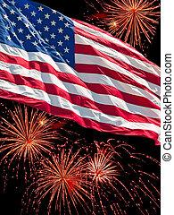 américain, feux artifice, drapeau, exposer