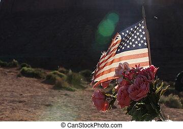 américain, fleurs, drapeau