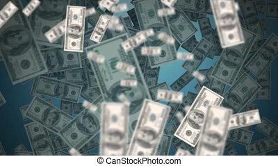 américain, flotter, billets banque, dollar, animation