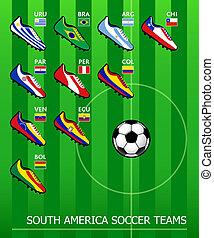 américain, football, sud, équipes