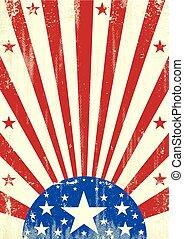 américain, grunge, étoiles, fond