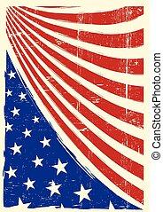 américain, grunge, drapeau, gentil