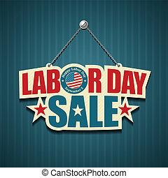 américain, heureux, jour, main-d'œuvre
