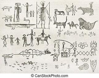 américain, hiéroglyphes, indigène