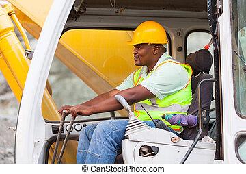 américain, homme, afrique, excavateur, agir