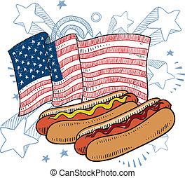 américain, hot-dog, croquis