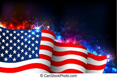 américain, incandescent, drapeau