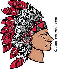 américain, indigène, coiffure, homme