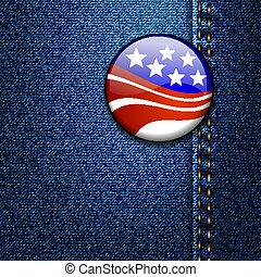 américain, jean, écusson, jean, drapeau