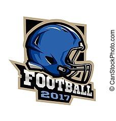 américain, jeux, 2017, football., emblem.