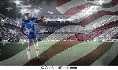 américain, joueur, élévation, boule football