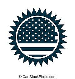 américain, jour, silhouette, décoration, style, icône, drapeau, heureux, écusson, indépendance, frontière