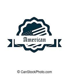américain, jour, silhouette, décoration, style, icône, ruban, drapeau, heureux, écusson, indépendance