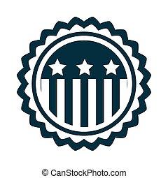 américain, jour, silhouette, icône, style, drapeau, emblème, heureux, écusson, liberté, indépendance