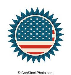 américain, jour, style, décoration, icône, drapeau, heureux, écusson, indépendance, plat, frontière