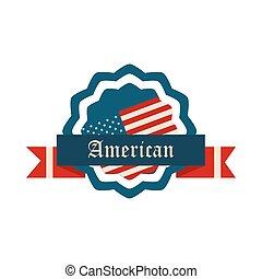 américain, jour, style, décoration, icône, ruban, drapeau, heureux, écusson, indépendance, plat