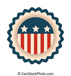 américain, jour, style, icône, drapeau, emblème, heureux, écusson, liberté, indépendance, plat