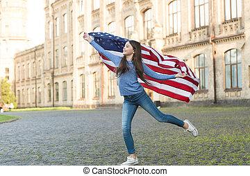 américain, liberté, concept, drapeau, petite fille, dehors, fond, architecture, intérieur