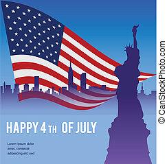 américain, liberté, ny, drapeau, statue, paysage
