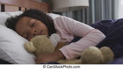américain, lit, africaine, dormir, elle