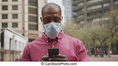 américain, masque, homme africain, coronavirus, covid19, ...