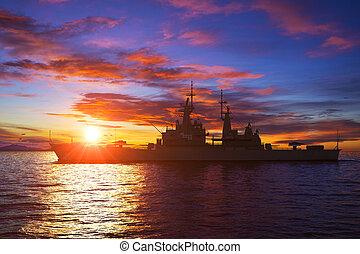 américain, moderne, coucher soleil, fond, navire guerre
