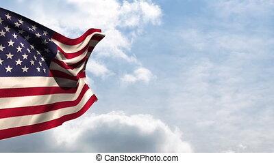 américain, national, drapeau ondulant
