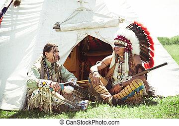 américain nord, indien, dans, entiers, dress., reconstruction