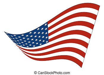 américain, ondulé, drapeau