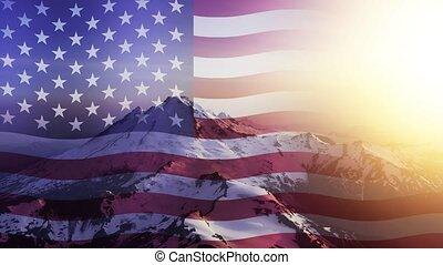 américain, onduler, boucle, cinemagraph, sur, continu, paysage, drapeau, animation