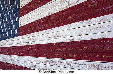 américain, ou, pavillon états uni, peint, sur, a, planche bois, mur