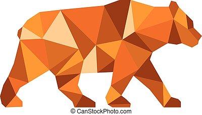 américain, ours, bas, côté, noir, polygone