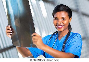 américain, ouvrier healthcare, rayon x, africaine