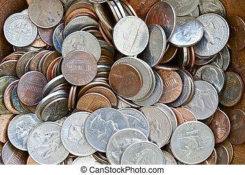 américain, pièces, dollar