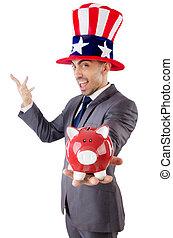 américain, piggybank, chapeau, homme