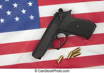 américain, pistolet, drapeau