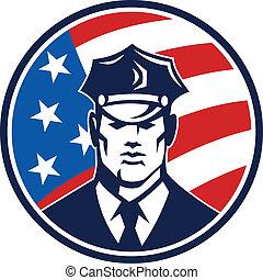américain, policier, garde sécurité, retro