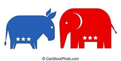 américain, politique, parties.